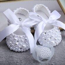 Dollbling Nieuwe Pure White Kinderschoenen Parel Maatwerk Handgemaakte Doop Verjaardagscadeau Prinses Meisje Schoenen