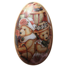 Oval Pastel Painting Ester Egg Box Rabbit Printed Decorative Candy Iron Lovely Easter Gift Party Favors Candies