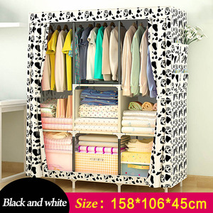 Image 4 - Simple Wardrobe Non woven Steel pipe frame reinforcement Standing Storage Organizer Detachable Clothing Closet Bedroom furniture