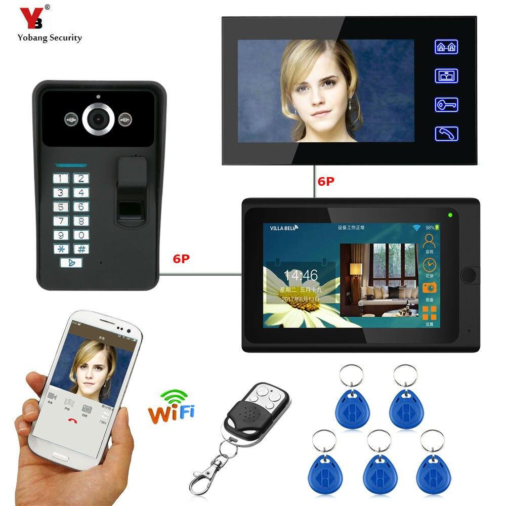 Yobang Sécurité 7 2 Moniteurs Filaire/Sans Fil Wifi Vidéo Porte Téléphone Sonnette Interphone Système avec D'empreintes Digitales RFID Mot de Passe Cam