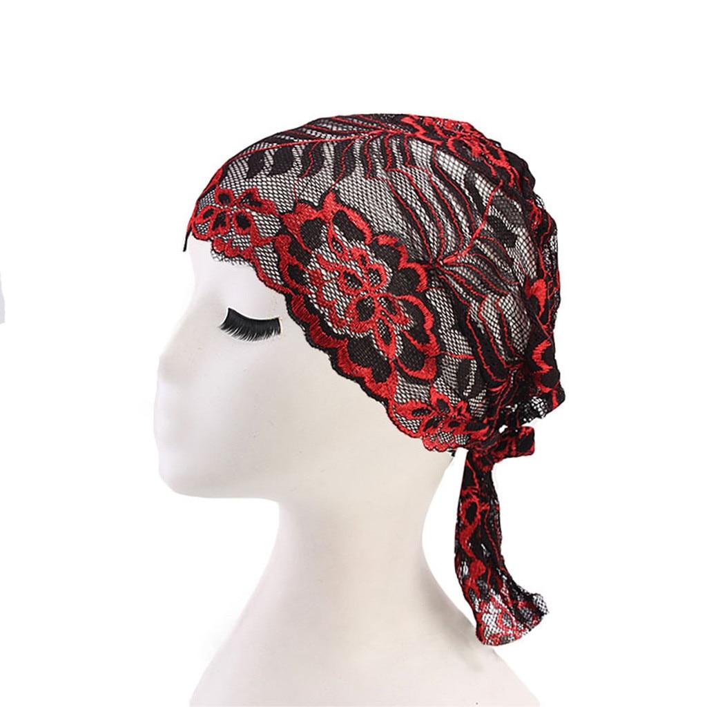 Home & Nest Frauen Komfortable Spitze Floral Muslimischen Rüschen Krebs Chemo Hut Beanie Turban Kopf Wrap Cap Wrap Hilfs Farbstoff #0327 Schrecklicher Wert Filzhüte