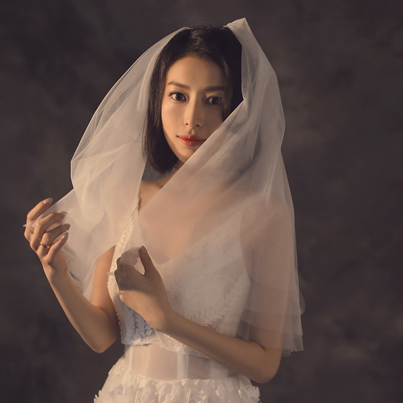 Ivory Gather Puffy Elbow Length Short Wedding Veils Women Cover Face Elegant Bridal Veils Voile De Mariee Accesorios De Novia