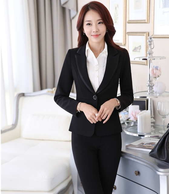 5174f94ce4340 US $46.22 7% OFF|Plus Size 4XL Formal Uniform Design Professional Business  Women Suits Jackets And Pants Autumn Winter Pantsuits Trousers Set-in Pant  ...