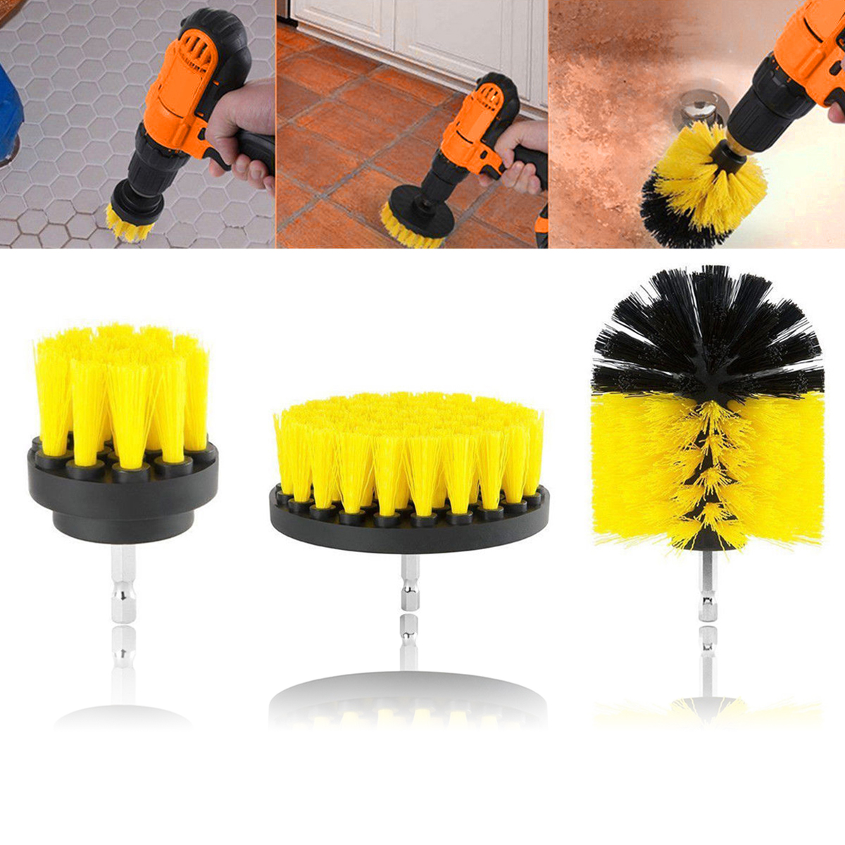 3 yellow Tile Grout Power Scrubber Cleaning Drill Brush Set Tub Cleaner Combo Household Cleaning Tools Brushes Bathroom Floor