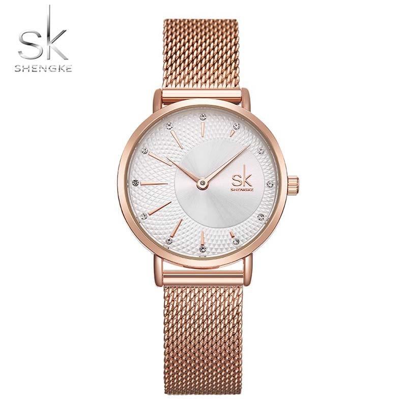 Women Wrist Watches Shengke Top Brand Luxury Stainless Steel Mesh Band Female Quartz Watch Women Reloj Mujer SK Ladies Clock