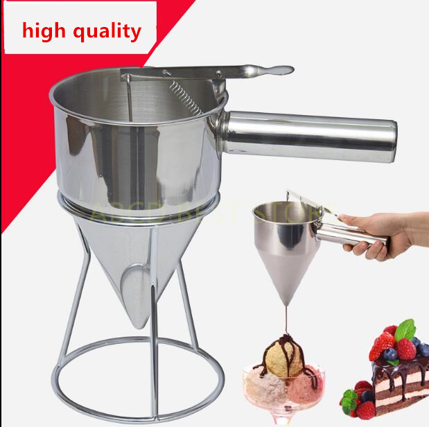 Stainless Steel Batter Dispenser Conical Funnel With Shelf Octopus Fish Balls Takoyaki Eggs Tart Baking Tools Helper baking tool cake dough batter cream dispenser cupcake funnel batter separator valve measuring cup muffin cups optional cake mold