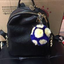 Genuine Rex Rabbit Fur football Key chain fashion Fur pompon Key ring bag Pendant gift car pendant car accessories key rings
