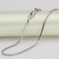 Collana In Oro Bianco puro 18 K 1.5mmW Milan Box di Collegamento Chain 18