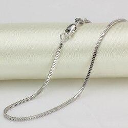 Murni 18 K Putih Kalung Emas 1.5mmW Milan Kotak Rantai Link 18