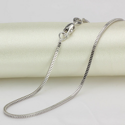 Pure 18K White Gold Necklace 1.5mmW Milan Box Chain Link 18
