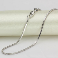 Pure 18K White Gold Necklace 1.5mmW Milan Box Chain Link 18L 2.2 2.7g