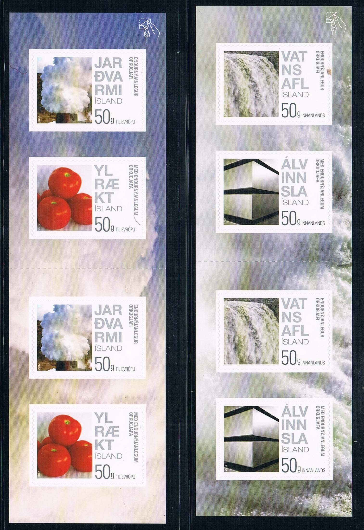 SW0133 Iceland 2012 clean energy geothermal waterfall booklet stamps 2 new 0508 from 2012 ea1420 1ms new 0626 coastal bird stamps