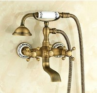 Europe Style Luxury High Quality Bronze Brass And White Wall Mounted Bath And Shower Faucet Set