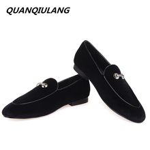 metal handmade loafers men velvet casual shoes men party and wedding dress shoes banquet black size 47