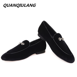 New fashion metal handmade loafers men velvet casual shoes men party and wedding dress shoes banquet.jpg 250x250