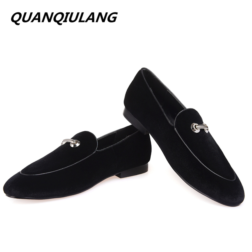 New Fashion Metal Handmade Loafers Men Velvet Casual shoes Men party and wedding dress shoes Banquet black size 47 Free shipping