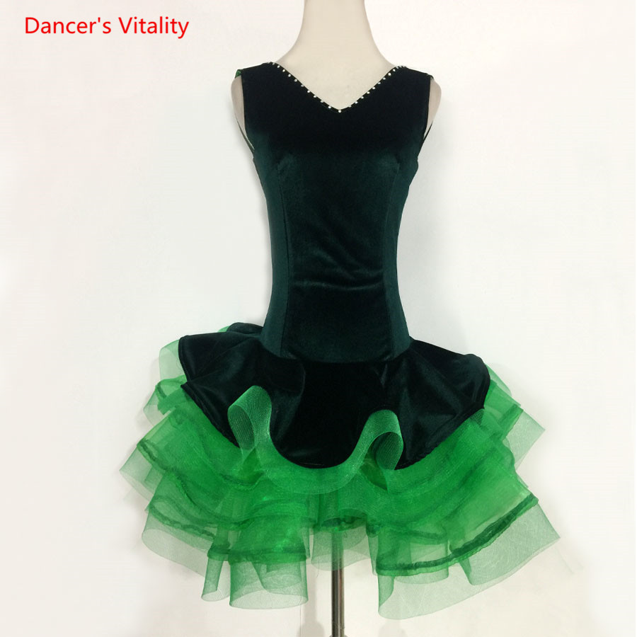 Adult Kids Latin Dance Costumes Sexy V-Back Sleeveless Dress Women/Girls Latin Ballroom Dance Competition/Performance Clothing
