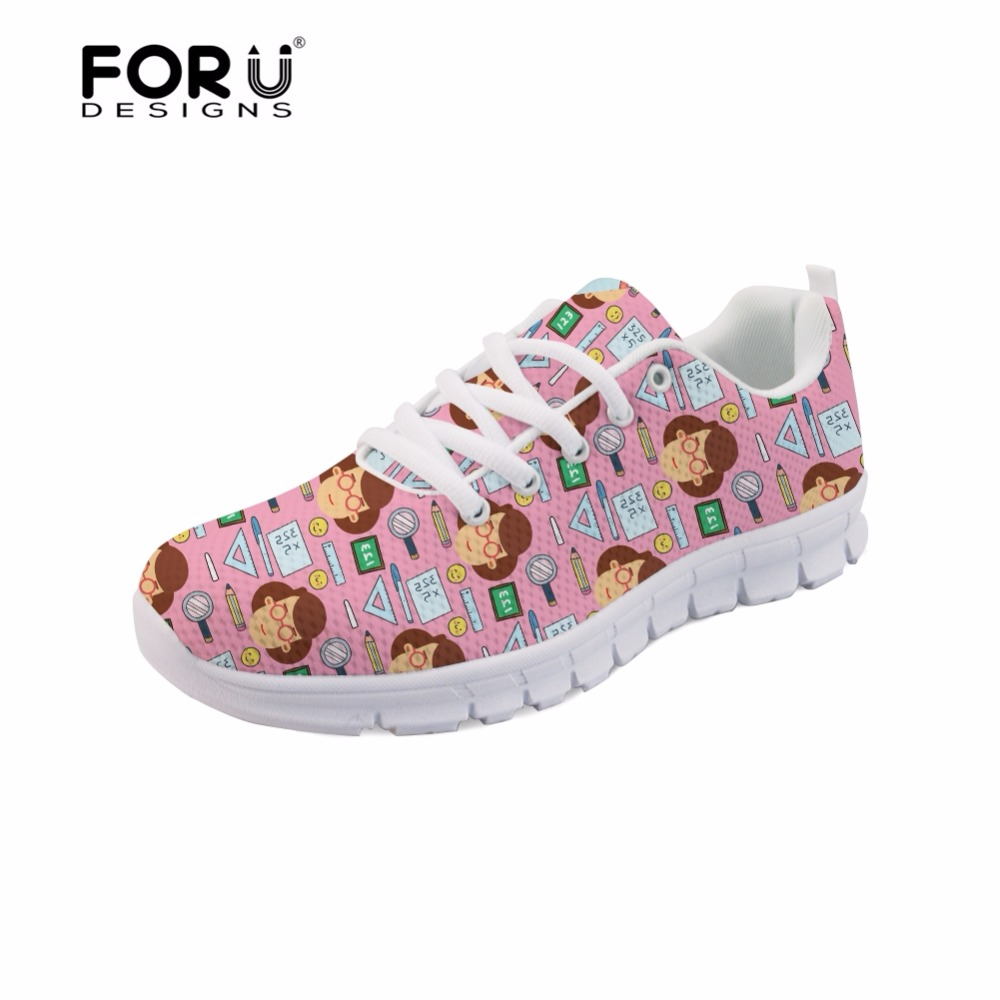 FORUDESIGNS Cute Cartoon Teacher Pattern Flat Casual Women's Sneakers Woman Mesh Flats Teachers Shoes Women Zapatos de Profesor instantarts fashion women flats cute cartoon dental equipment pattern pink sneakers woman breathable comfortable mesh flat shoes