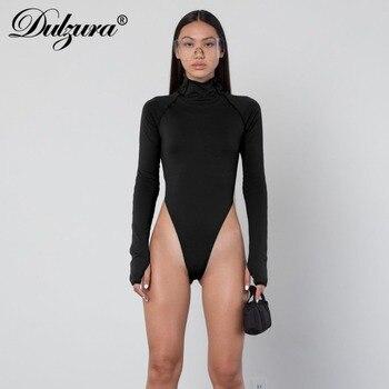 Dulzura high neck long sleeve high waist neon bodysuit 2019 autumn winter women sexy skinny stretch body clothing 6