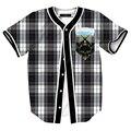 2016 Hip Hop de Béisbol Camisa 3d Print Vintage Plaid Camiseta Del Cráneo Tops Botón Camisas de Jersey Streetwear Ocasional Más El Tamaño M-XXXL