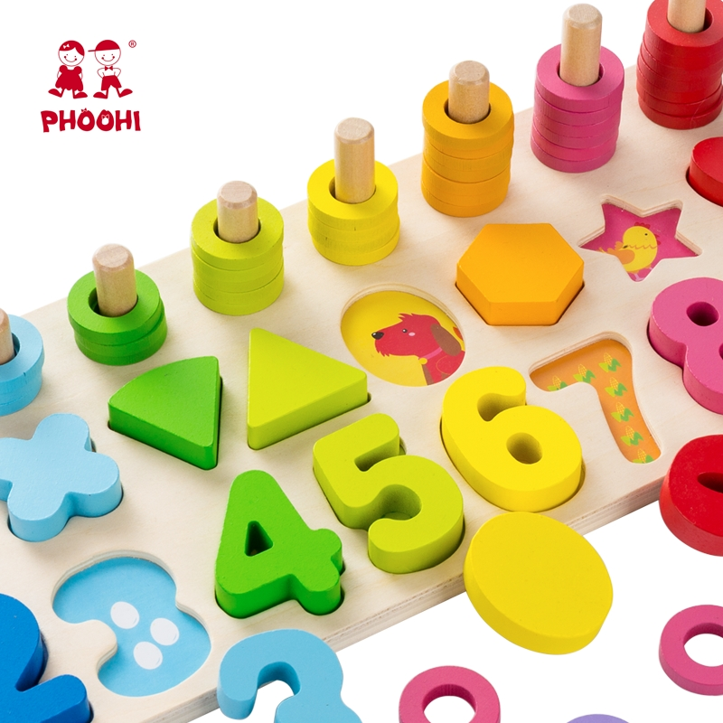 Baby Wooden Montessori Educational Material Toy Kids Early Learning Infant Shape Match Board Toy For 3 Year Old PHOOHI