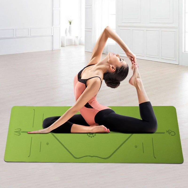 Pour les débutants tapis de Yoga 183*61cm TPE tapis de Yoga Fitness Gym tapis de sport tapis d'exercice avec ligne laser Yoga 6mm tapis de Yoga 9 couleurs