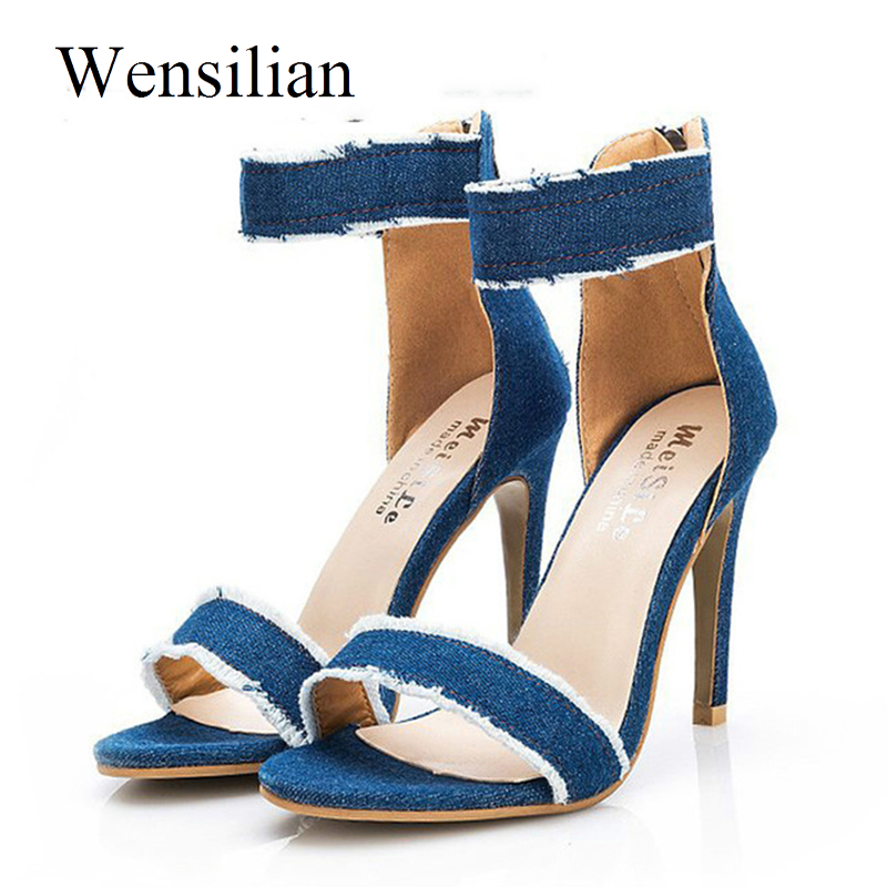 Peep Toe Pumps Summer High Heels Sandals Women 2018 Sexy Heels Ladies Denim Shoes Zip Female Thin Blue Shoes Zapatos Mujer cdts plus 35 45 46 summer peep toe zapatos mujer sandals 15cm thin high heels platform sexy woman shoes wedding pumps