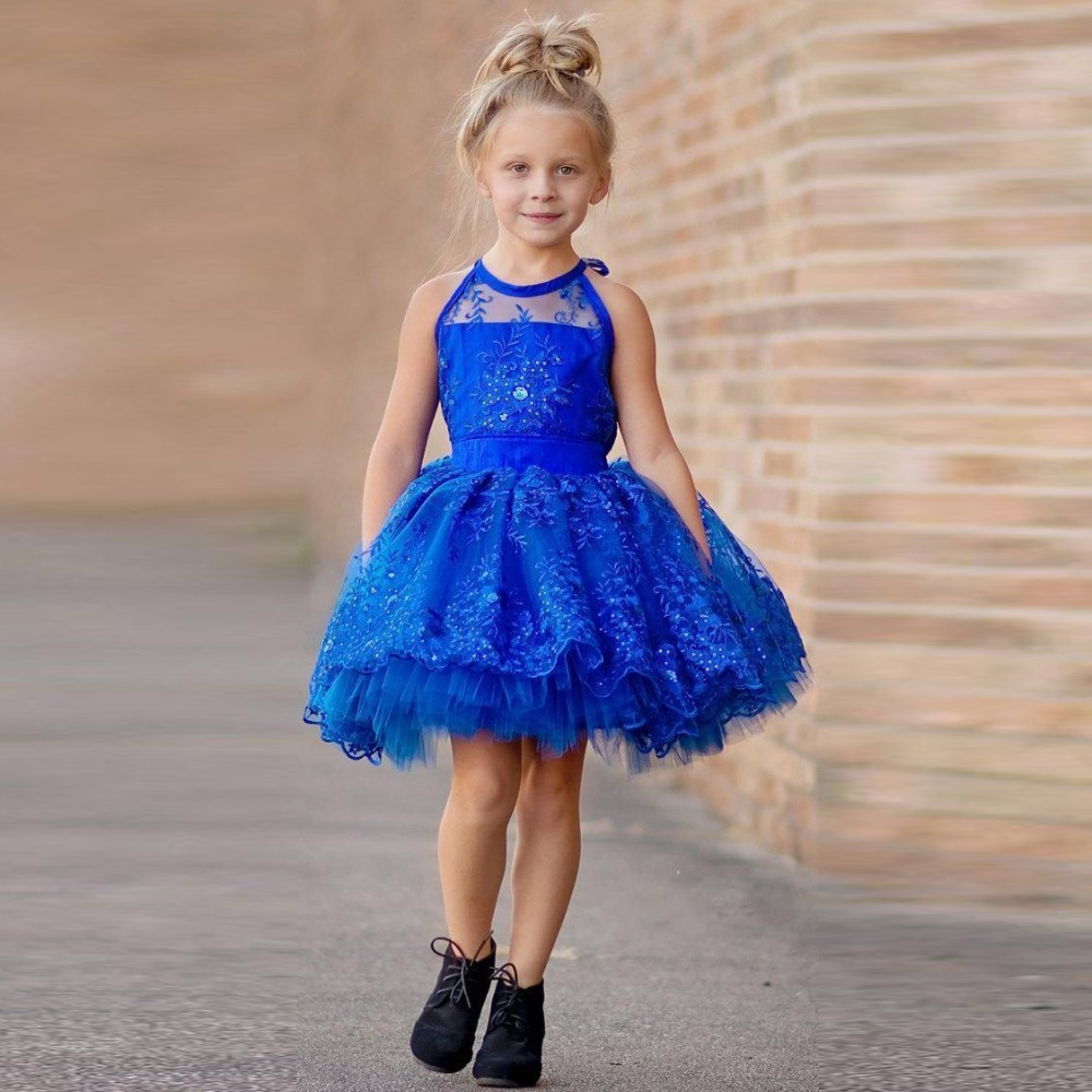 Royal Blue Lace Flower Girl Dresses Gowns For Wedding Ball