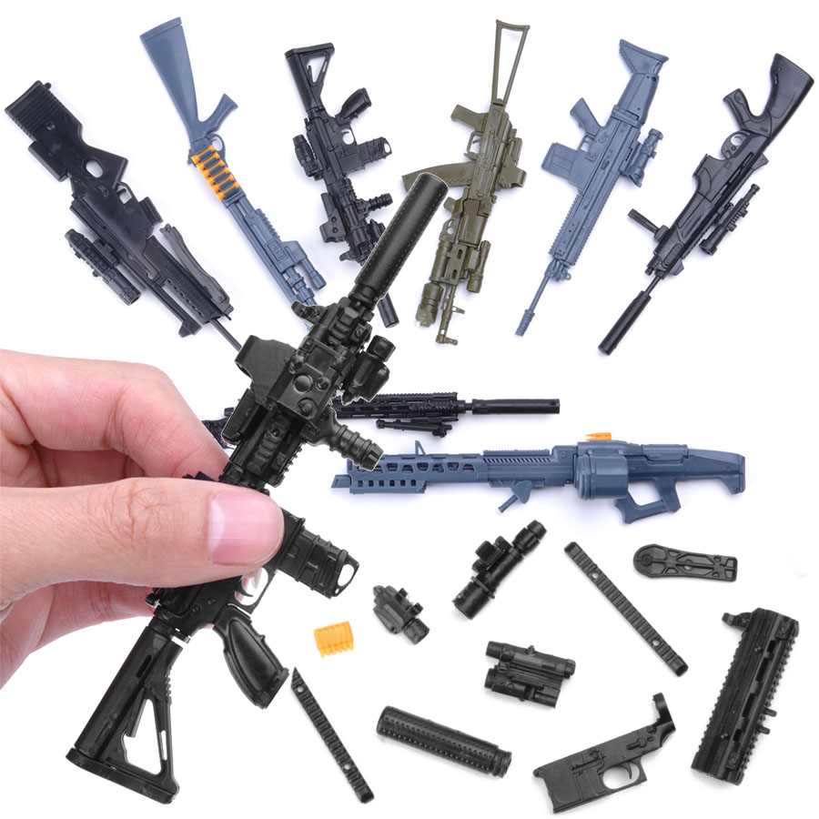 8Pcs 1/6 Toy Simulation Gun Model Assembled Military Arms 98K Sniper Rifle Collectibles Model Building Kits Toys For Kids