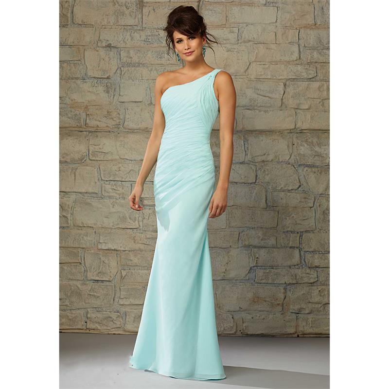 Sexy One Shoulder Long Turquoise Bridesmaid Dresses Under