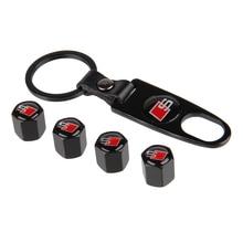 4Pcs +1KeyChain Car Styling Tire Valve Caps S  Logo Emblem Tyre Air Stems Cap Auto Tire Accessories