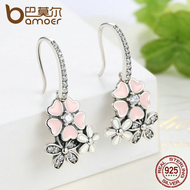 925 Sterling Silver Pink Daisy Cherry Blossom Drop Earring 2