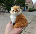 simulation fox toy polyethylene & real furs about 14x10cm brown fox model, home decoration gift t077