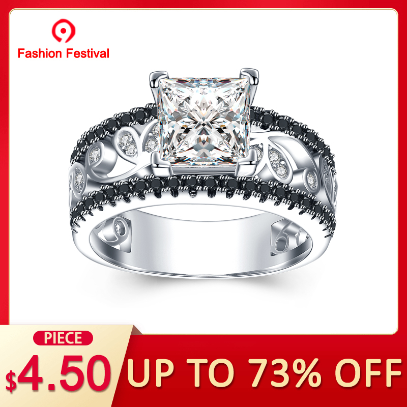 0f8e673c41e2b BLACK AWN] Real 925 Sterling Silver Female Engagement Ring Trendy ...