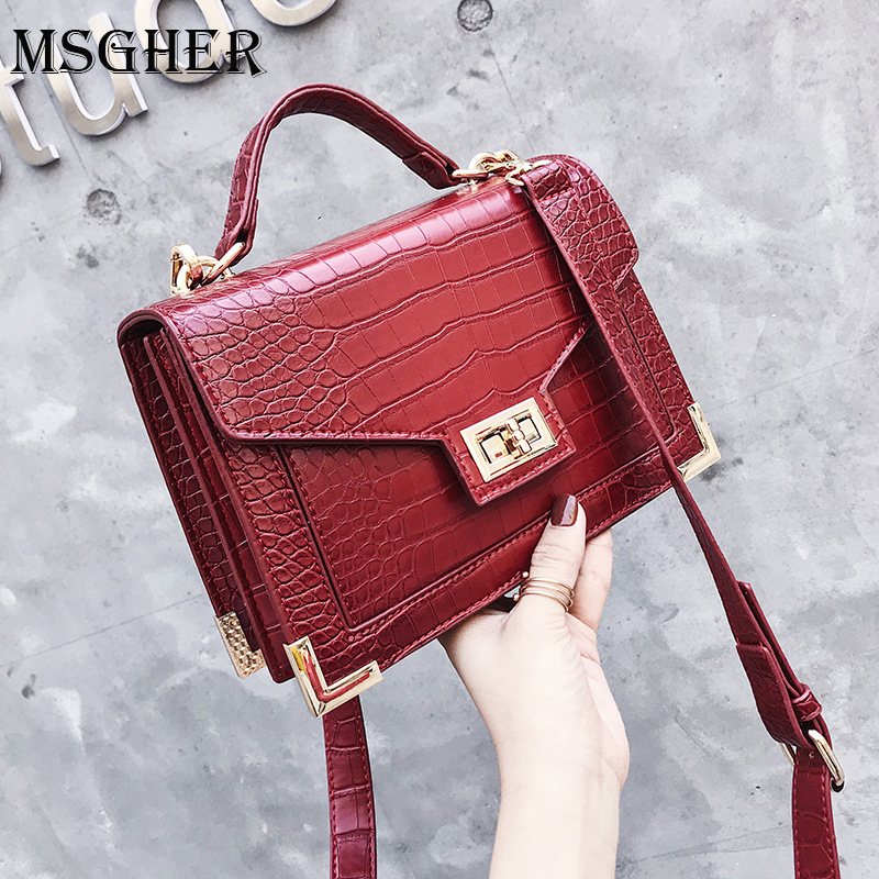 MSGHER Crocodile Pattern Leather Bags For Women 2018 Luxury Handbags Women Bags Designer Vintage Shoulder Messenger Bag WB1393MSGHER Crocodile Pattern Leather Bags For Women 2018 Luxury Handbags Women Bags Designer Vintage Shoulder Messenger Bag WB1393
