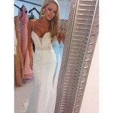 2016 Vestidos De Formatura Spaghetti Pailletten Kristall Meerjungfrau Abendkleider Weiß Prom Kleid