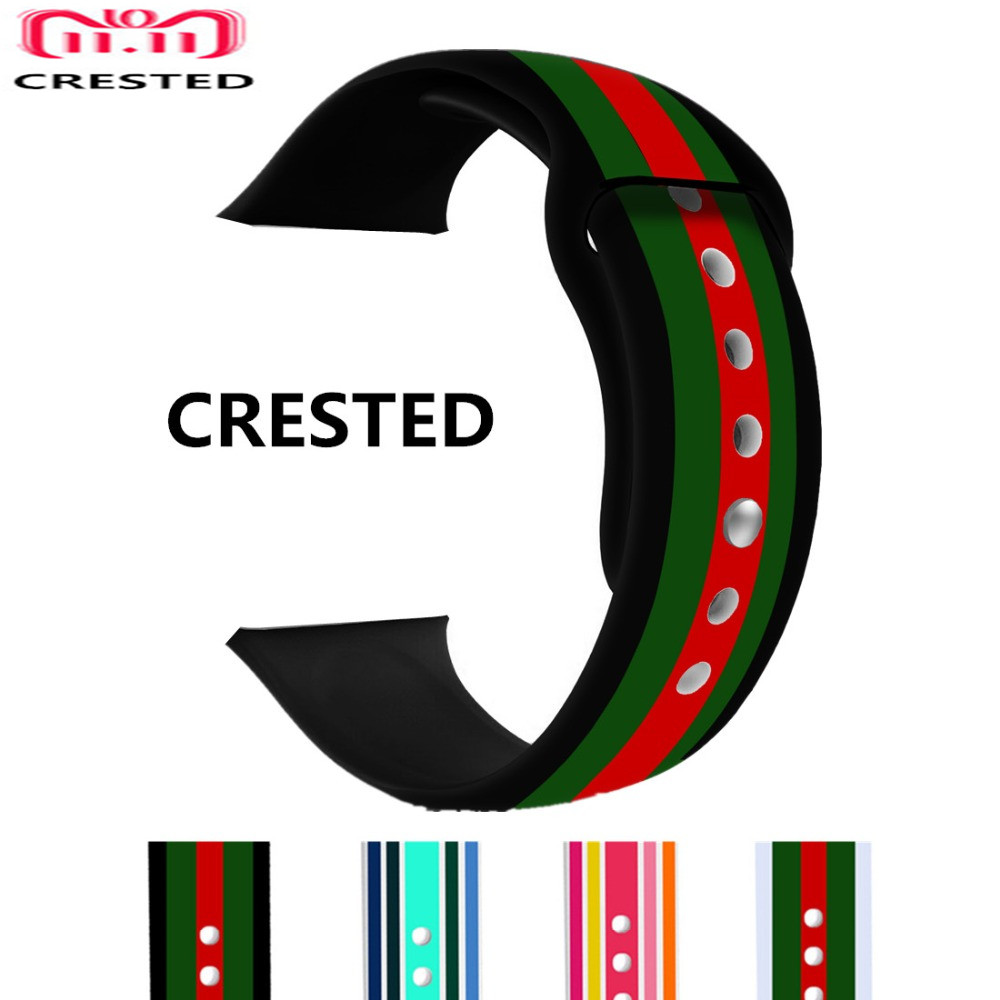 CRESTED Silicone Sport Strap For Apple Watch 4 band 44mm 40mm iwatch 3 2 1 42mm/38mm Print Flower Wrist Watchband Bracelet belt crested sport woven nylon strap for apple watch band 42mm 38mm 44mm 38mm bracelet wrist belt watchband for iwatch 4 3 2 1