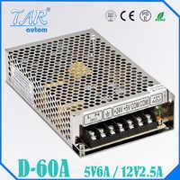 Double alimentation de sortie 60w 5V6A 12V2. 5A puissance suply D-60A ac dc convertisseur de tension haute qualite led alimentation