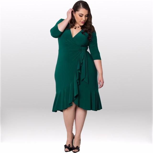 Decote em v profundo mulheres plus size fashion dress sexy bandage bodycon fit e flare túnica na altura do joelho-comprimento estiramento elástico fashion dress