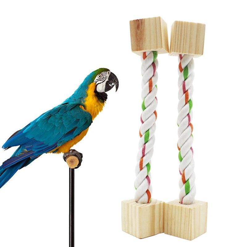 1 Pc Lustige Vogel Barsch Spielzeug Baumwolle Seil Mit Holz Blöcke Vogel Schaukel Spielzeug Vogel Steht Für Papageien Käfig Zubehör NüTzlich FüR äTherisches Medulla