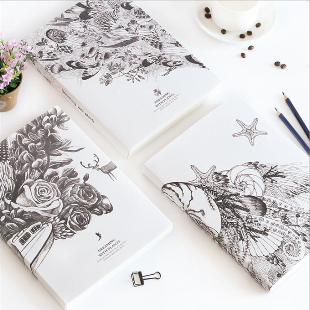 Creative Korean B5 Blank Sketchbook Office School Stationery Notebook Daily Collection Scrapbook Vintage Diary Drawing Book b5 vintage blank notebook creative high quality student diary daily painting graffiti sketching book office school note planner
