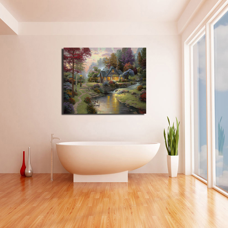 Thomas Kinkade Stillwater Cottage Wall Art Canvas Painting Poster Prints Modern Painting Wall Picture For Living Room Home Decor in Painting Calligraphy from Home Garden