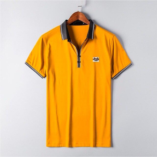 2016 Новый Люксовый Бренд Бизнес Мужчины Polo Воротник Рубашки С Коротким рукавом 3d Вышивка Лошадь Ти Топы Одежда Высокого Качества плюс Сиз