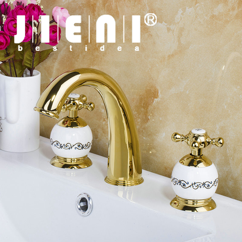 JIENI Luxury 3PCS Set Bathtub Golden Plated Bathroom Faucet European Split Basin Mixer Tap ceramic Faucet Body Cross Handles golden cross beach cross body jewelry