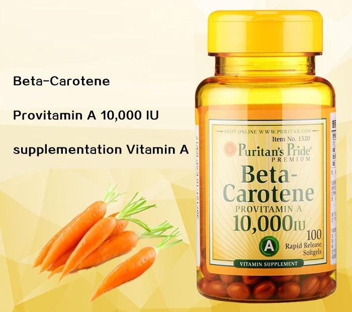 beta karoten provitamin a 10 000 iu 100 softgels suplemen vitamin pengiriman gratis china