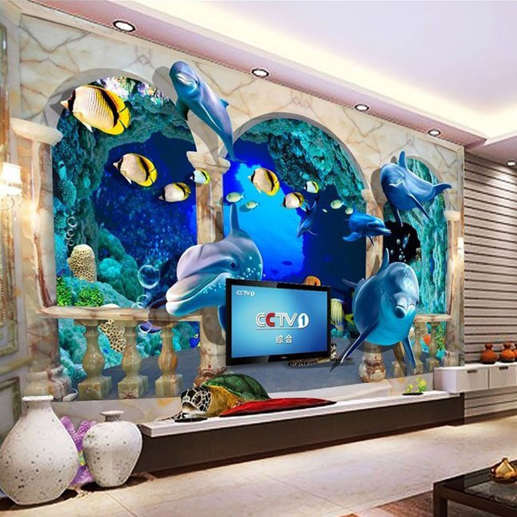 3d mural picture more detailed picture about 3d wall for Aquarium mural