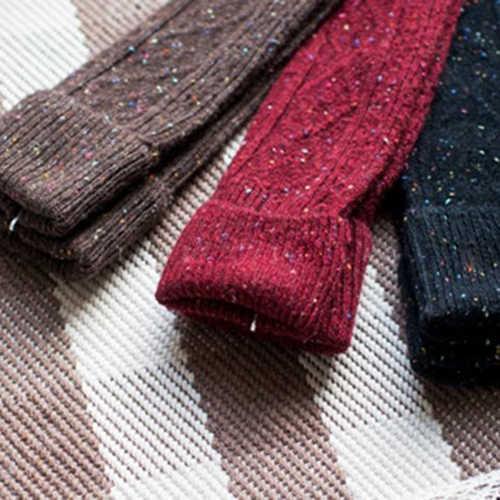 Sıcak kadın Moda Açmak Kaburga Nokta Yün Karışımı Uzun Diz Yüksek kış botu Çorap 8NGQ