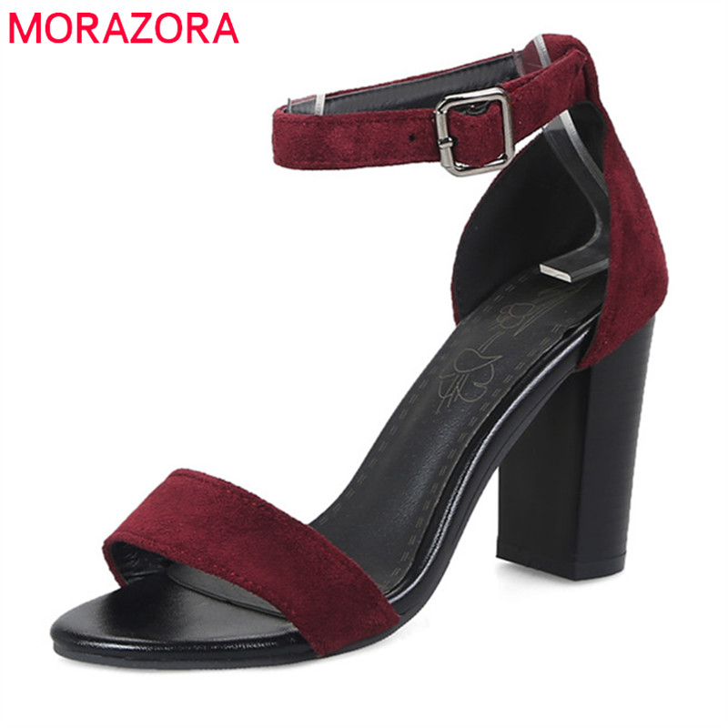 MORAZORA 2018 big size 33-47 hot sale women sandals flock summer shoes simple buckle party wedding shoes sexy high heels shoes цена