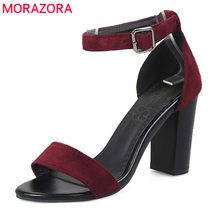 MORAZORA 2019 Big size 33-47 hot sale women sandals flock summer shoes simple buckle party wedding shoes sexy high heels shoes(China)