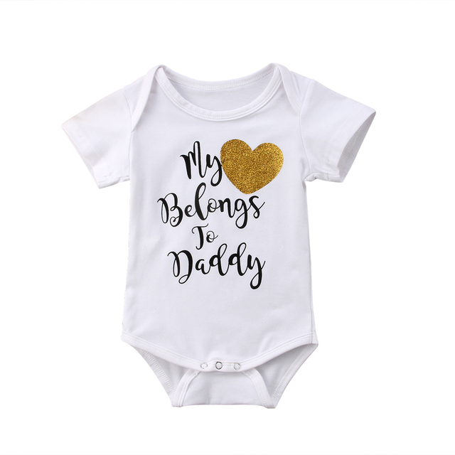 070a3c10c7f7 Letter Print My Heart Belongs To Daddy Baby Girls Romper Jumpsuit Outfits  Clothes